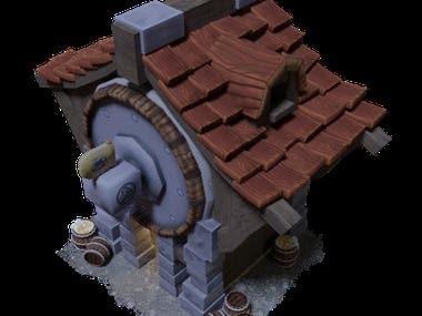 Dwarven Brewery 3D Model - Low Poly