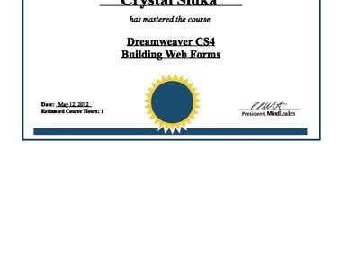 DREAMWEAVER Certificates PAGE 1