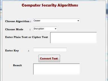 Security Algorithms implementation