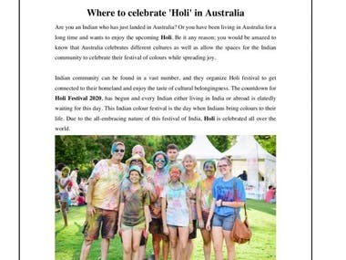 ARTICLE ON HOLI CELEBRATION IN AUSTRALIA
