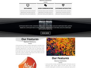 Landing page for portfolio website