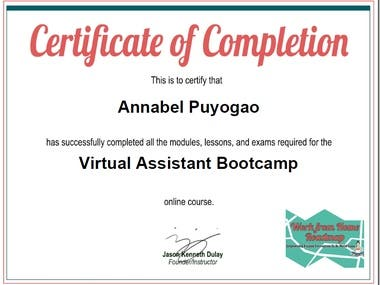 Virtual assistant certificate