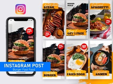 Pack de Historias - Burger Fast Food