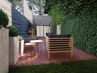 back yard and terrasse