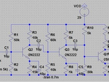 BJT Multistage Audio Amplifier Using Ltspice