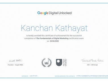 Certificate for THE FUNDAMENTALS OF DIGITAL MARKETING exam