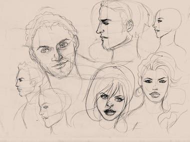 Character creation, 2D Cartoons, vector/digital and trad.