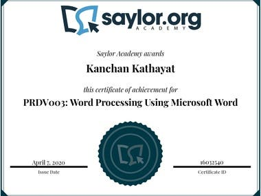Certificate for MS Word