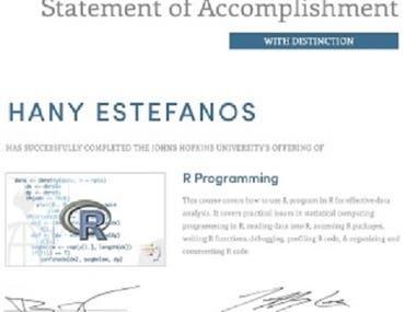 R programming Language Certificate