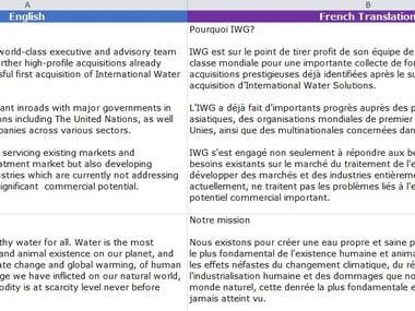 English to French Brochure Text Translation