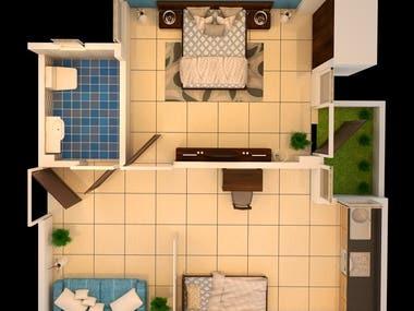 3D Floor Plans/Bird's eye view/aerial view