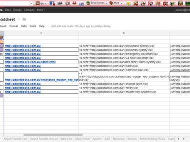 Profile Back Linking/ Keyword Spreedsheet