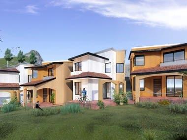 Housing complex in the Sierras de Oaxaca, Mexico
