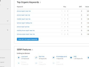 Google Organic Keywords Ranking