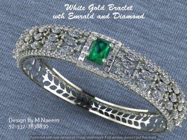 Emerald with diamond bracelet