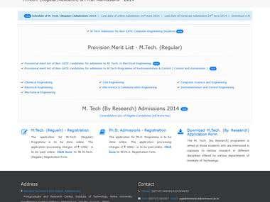 Online Admission (B.Tech., M.Tech.) Software & Website