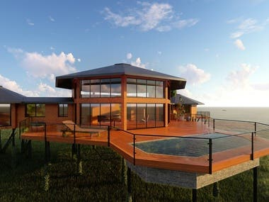 Project and 3D visualization for a house in the Dominican Re