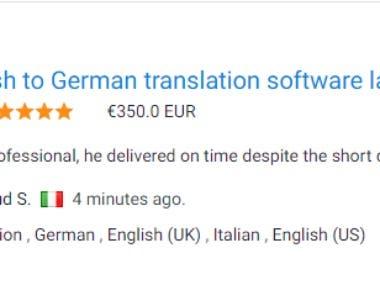 English to German Software label translation