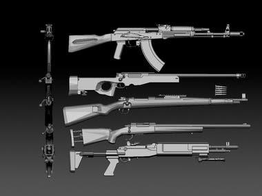 Guns 3d modeling