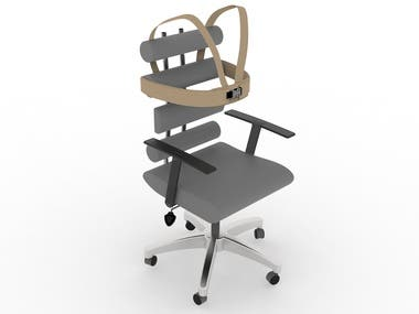 Desk chair with additional support on sides of rib cage