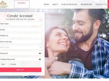 Dating site design and development