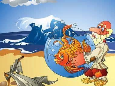 Russian fairy-tales illustration