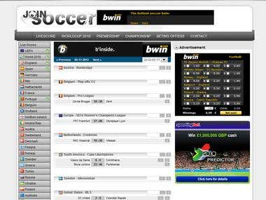 Soccer website with livescore