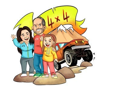 Caricature + Sticker for Off Road Rally