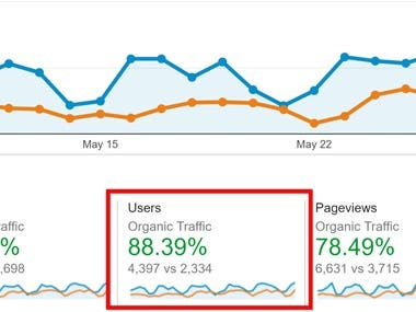 Organic traffic incrase after our work