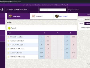 Betting website (laravel, Node js., Angular, Socket IO.)