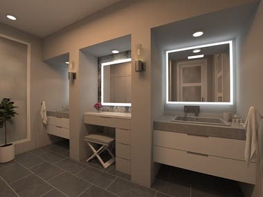 Bathroom 3D rendering