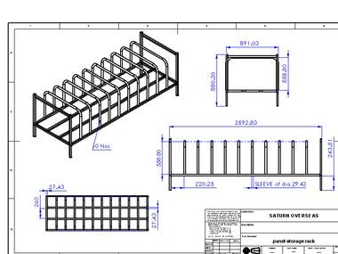 Panel Storage Rack with 2D Engineering Drawing