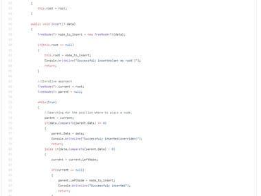 Generic Binary Search Tree method sample
