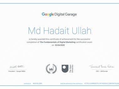 Google certification for Digital Markeing