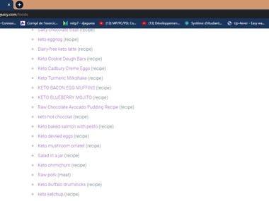 Data Entry and Web scrape of 120 keto recipes