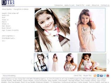 Online Modelling Agency website and admin section