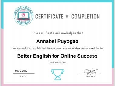 Better English Training Certificate