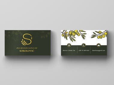 Olive oil company business card