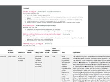 NLP Resume content extract