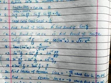 Mathematics Trigonometry Questions