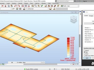 Raft foundation analysis for wall bearing house
