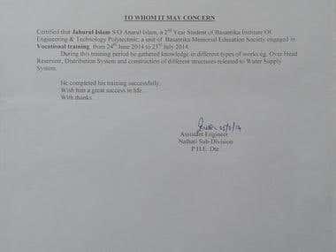 Certificate of Govt. Training
