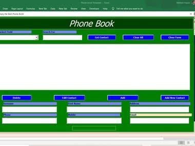 Phone database within Excel{VBA}