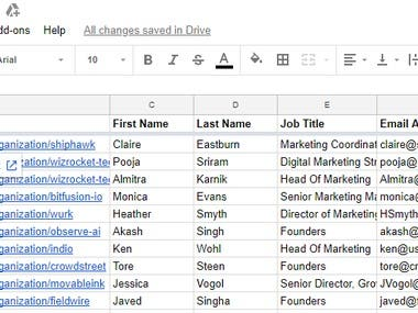 Marketing Leads from Crunchbase