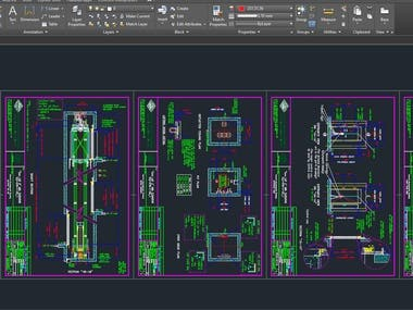 AutoCAD design-Elevator and 3D projector