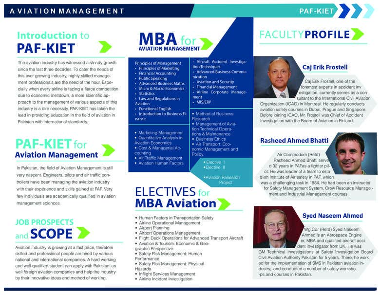Brochure design for the PAF KIET UNIVERSITY PAKISTAN