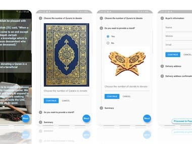 """Implemented Design of """"Holy Quran Donation App"""" in Flutter"""