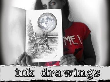 Magdalena Almero Nocea ink drawings