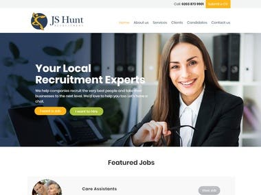 Astra Wordpress Theme Website for a Recruitment Company