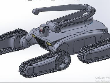 Conceptual design of a chassis of a fire fighting robot.